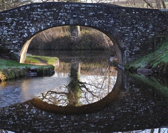 English Canal Bridge Photograph – Architectural Travel Photograph Reflected Canal Bridge in English Countryside
