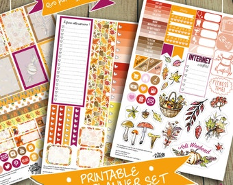 Autumn Week Set Stickers for Large Happy Planners (Digital PDF File/Printable)