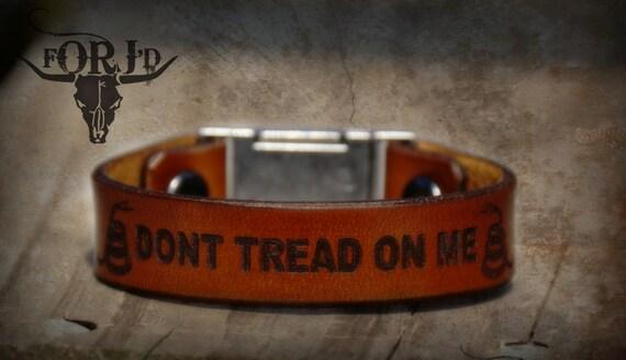 Leather Bracelet, Leather Don't Tread on Me Bracelet, Men's Bracelet