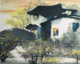 Water Town Series #1, Chinese Ink Painting, Print