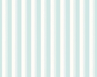 Aqua Blue and White Stripe Fabric - Riley Blake Wiltshire Stripe Fabric - Aqua and White Fabric