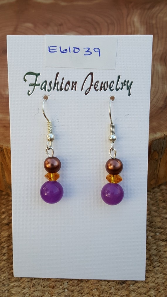 Purple Amber Brown Earrings / Purple with Brown Pearl Earrings / Dangle Earrings / Hippie Earrings / Boho Jewelry /E61039