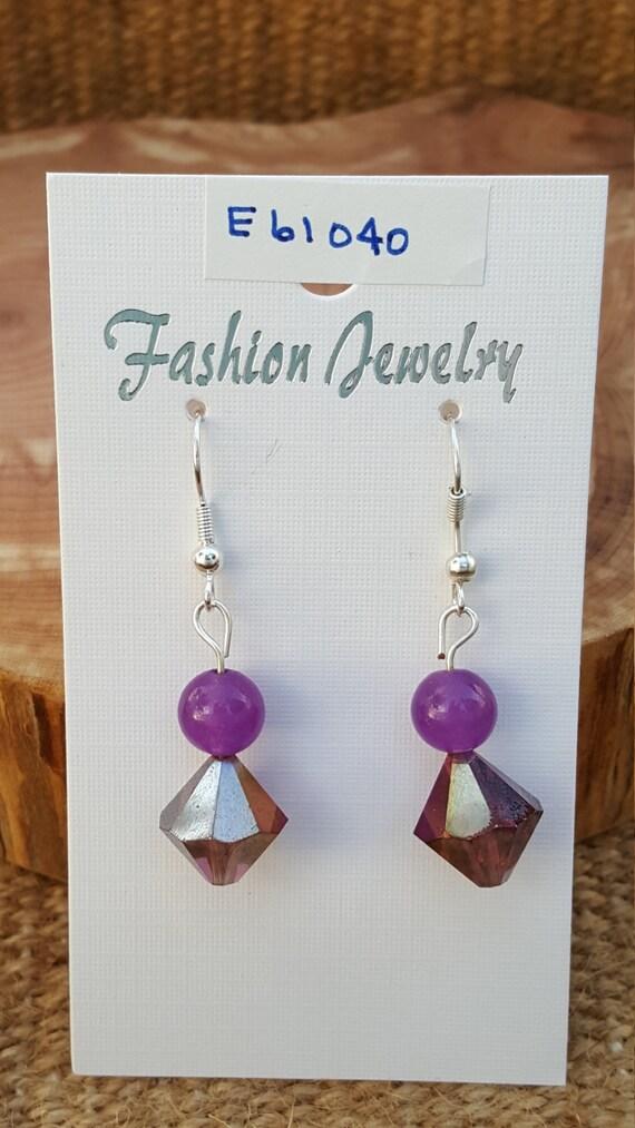Purple Stone Earrings / Purple Sparkle Earrings / Purple Beveled Bead Earrings / Dangle Earrings / Hippie Earrings / Boho Jewelry /E61040
