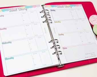 A5 PRINTED planner inserts - Week on two pages - Food Diary - Horizontal