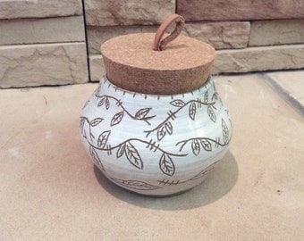Beautiful Carved Handmade Pot with Cork Lid