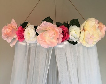 Floral Canopy, Crib Canopy, Bed Canopy, Floral Reading Canopy, Flower Canopy
