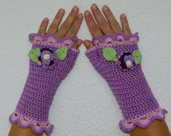 "50% OFF  Crochet Gloves: ""PURPLE GLOVES"" Fingerless  Purple Gloves with flower Hand Warmers Hand Knit Flower Mittens Winter accessory A24"