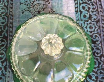 Kelly green glass bowl with lid