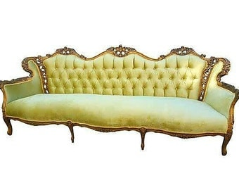 Victorian Vintage Gold Velvet Sofa ***SOLD*** - Antique Yellow Couch - Hollywood Regency Gold Gilt Loveseat - We can custom make you one!