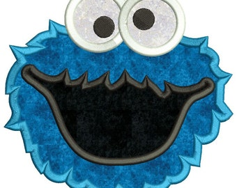 Cookie Monster Applique Machine Embroidery Design 3 sizes instant download