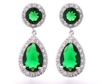 Emerald cubic zirconia wedding earrings, white gold plated, party earrings, prom earrings