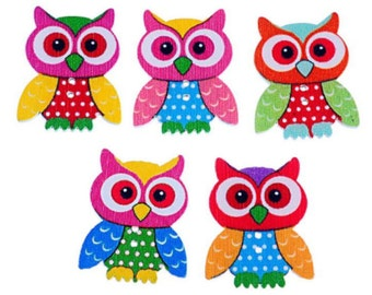 Mixed Lot Of 20 PCs 2 Holes Owl Wooden Buttons Sewing Scrapbooking Owl Pattern Decorative Buttons 3.5x2.8 cm Random Mixed