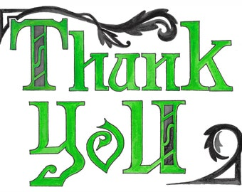 Art Nouveau Green Thank You Note