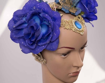 Head dress, flowers headband * blue roses *.