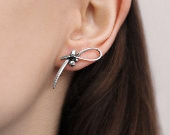 Sterling Silver Bow Earrings / Handmade 925 sterling siver earrings/ Design earrings