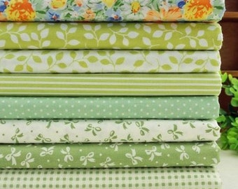 8 coupons fabric Quilt/sewing 40 x 50 cm green 1016