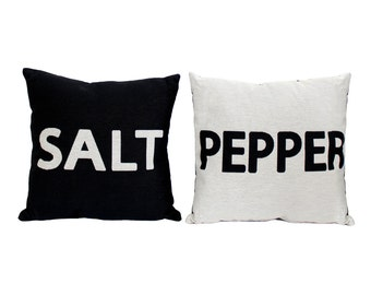 SALT & PEPPER Throw Pillow Set - Black and White Decorative Pillows - Gift for Couple - Best Friends Gifts - Neutral Decor - Foodie Gift