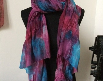 "Prophetic - Silk Scarf - Gifts for Women - Dyed Silk - Christian Gifts - Crinkle Silk 35x72"" called Breaking Point"