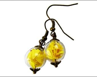 Sun yellow wild flowers earrings
