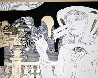 Rare Original Endre Szász - Drawing - Serigraph with signature