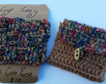 Cup cozy with matching coin purse