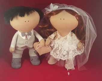 "Fabric Doll, Handmade Doll, Rag Doll, Interior Doll, Gift Doll - Kukla ""Just Married"""