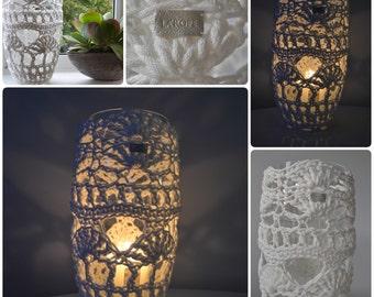 Large Candle Holder/Crochet / Home decor/Vase/ Gift