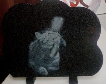 Souvenir plate in black cloud granite 30 * 23cm