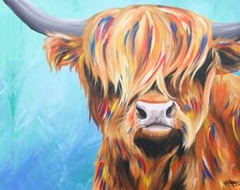 Blue Highland Cow Print A3