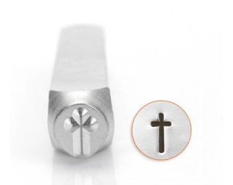 Spiritual Metal Stamps, Cross Design Stamp, 6mm Jewelry & Craft
