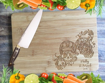 Candy Skulls - Personalised Engraved Bamboo Chopping Board