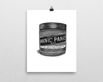 "Hair Dye Mania! Original Illustration Print: ""Manic Panic"" 8x10 in."