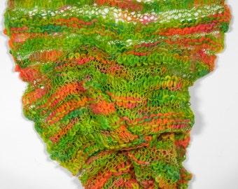 Knitted merino Scarf-Green/Orange