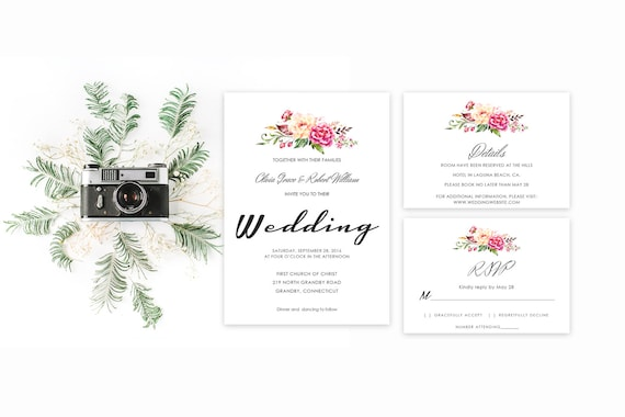 Floral wedding invite word_9,INSTANT DOWNLOAD, Editable Wedding template invitation. Microsoft Word template.Wedding Printable