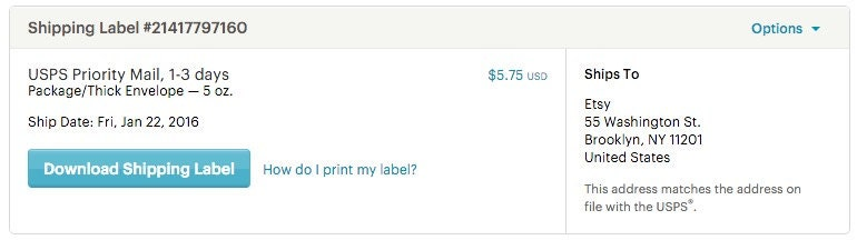 Buy usps shipping labels on etsy etsy help for How to send a shipping label