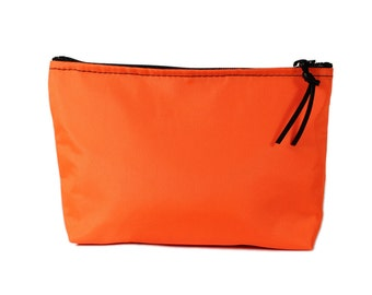 "7"" Orange Nylon fabric cosmetic bag/pouch"