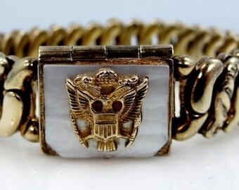 "Vintage ""Precious Metal LaMode"" U.S. Army Locket Stretch Sweetheart Bracelet"