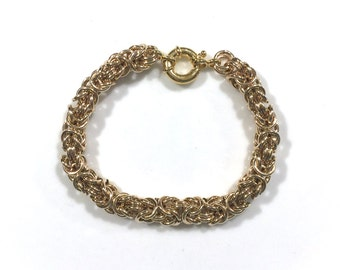 Thick 14k Gold Filled Byzantine Bracelet with Nautical Spring Ring Clasp