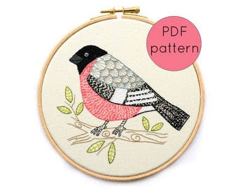 Downloadable Embroidery Pattern, Bullfinch Bird Hand Embroidery Pattern