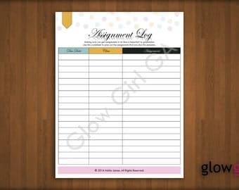 Assignment Log, Schedule - High School, College, Planner Pages - Letter, Instant Download