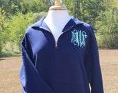 Monogrammed 1/4 Zip, Zippered Pull Over, Sweatshirt, Personalized Football Shirt, Cheer Shirt, Soccer Shirt, Spirit Shirt