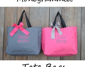 4 Personalized Bridesmaid Gift Tote Bags, Embroidered Tote, Monogrammed Tote, Bridal Party Gift, Bridesmaid Tote Bags, Wedding Day Tote Bags