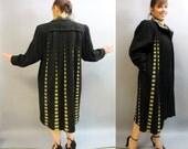 "ROCKABILLY 1940's Style, Vintage 1980's Black Wool SWING Coat,  ""La Luce"" Ladies Jacket, size Large"