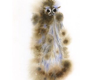Owl art print - No. 67 - Watercolor and ink Archival Owl Print in Subtle Smokey Winter Fall Colors Grey Gray Blue Brown 8x10