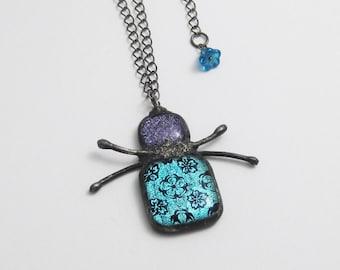 Sparkling Glass & Copper Pendant