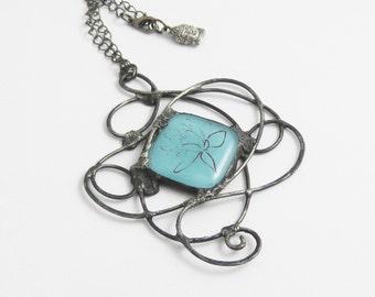 Bold Glass Pendant | Lotus Flower | Statement Pendant | Blue