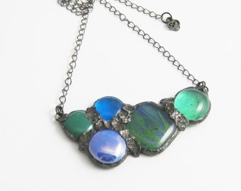 Urban Artifact | Eclectic Fused Glass | Statement Jewelry | Stained Glass Pendant