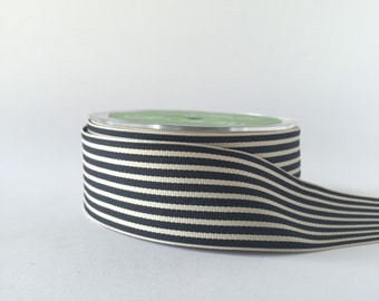 "Black and Ivory Stripe Grosgrain Ribbon 1.5"" width in 5 Yard Cuts"