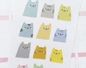 12 cute kawaii cat planner stickers, kitty stickers, litter box cleaning stickers, pet care, task stickers, cat stickers, cat lover, CAT1