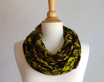 Brown and lime infinity scarf southwestern print circle scarf chartreuse green yellow scarf cotton modal cowl scarf fall accessories